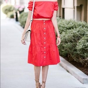 Madewell Tiered Bistro Skirt Coral Button Front
